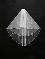 Wedding Veil Two-tier Blusher Veils / Shoulder Veils / Elbow Veils / Fingertip Veils Beaded Edge