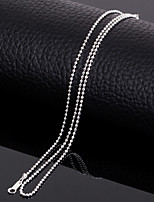18k Silver Plated 17 Inch (43cm)2mm Width Titanium Steel Bead Shape Chain Necklace Accessories for Women Men