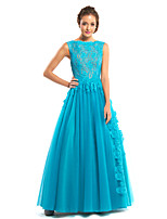 TS Couture Formal Evening Dress - Jade A-line Bateau Floor-length Lace / Tulle