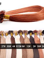 EVET Unprocessed Brazilian Nail Tip Hair Virgin Human Hair U Tip Hair Extensions 0.5G/Strand 100Strands/Lot