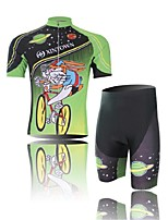 Men's Short Sleeve Cycling Clothing Sets/Suits ShortsBreathable / Ultraviolet Resistant /Moisture  Green+Black
