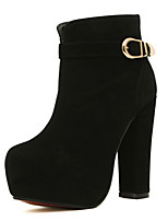 Women's Shoes Fleece Chunky Heel Round Toe / Closed Toe Boots Office & Career / Athletic / Dress Black