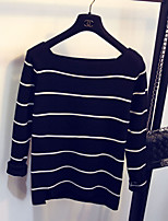 Women's Striped White / Black Pullover , Sexy Long Sleeve