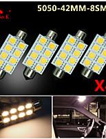 4 X Warm White 41MM 5050 8SMD Festoon Dome Map Interior LED Light bulbs DE3423 6418