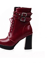 Women's Shoes Leatherette Chunky Heel Heels / Platform Boots Casual Black / Red / White