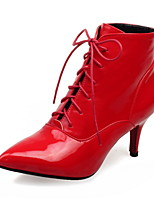 Women's Boots Comfort Winter PU Walking Shoes Dress Party & Evening Lace-up Stiletto Heel Black Silver Ruby 2in-2 3/4in