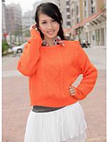 Women's Solid Blue / Brown / Green / Orange Pullover , Vintage Long Sleeve