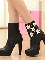 Women's Shoes Leatherette Chunky Heel Platform / Fashion Boots Boots Office & Career / Dress / Casual Black /