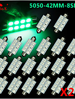 20X green 41MM 5050 8SMD Festoon Dome Map Interior LED Light bulbs DE3423 6418