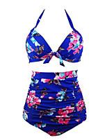 Women's Sexy Plus Size Print Straped Tankinis Swimwear Bikini (Random Print)