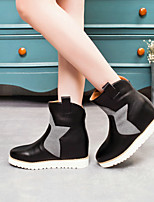 Women's Shoes Leatherette Flat Heel Fashion Boots Boots Party & Evening / Dress / Casual Black / Beige