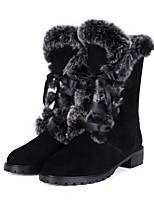 Women's Shoes Suede Chunky Heel Snow Boots Boots Outdoor / Dress / Casual Black