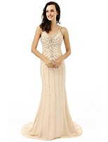Formal Evening Dress - Champagne Sheath/Column V-neck Court Train Chiffon