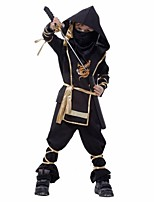 Cosplay Costumes Ninja Movie Cosplay Black Solid Top / Pants / Mask / Breastplate / Cap / Bandage Halloween / Christmas / New Year Kid