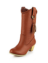 Women's Shoes Chunky Heel Fashion Boots / Pointed Toe / Closed Toe Boots Office & Career / Dress Brown / Yellow