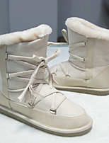 Women's Shoes Fabric Flat Heel Snow Boots / Round Toe Boots Outdoor / Casual Black / Beige