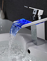 Bathroom Sink Faucet Waterfall with LED Light Single Handle Faucet