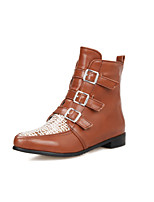 Women's Shoes Low Heel Pointed Toe / Closed Toe Boots Outdoor / Casual Black / Brown