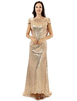 Formal Evening Dress - Gold Sheath/Column Jewel Floor-length Satin