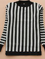 Women's Geometric Black Pullover , Vintage / Casual Long Sleeve