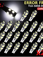 20x Canbus Wedge T10 White 192 168 194 W5W 9 5050 SMD LED Light Lamp Bulb Error Free 12V