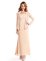 Sheath/Column Mother of the Bride Dress - Champagne Ankle-length Long Sleeve Chiffon