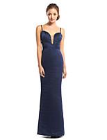 TS Couture Formal Evening Dress - Dark Navy Sheath/Column Spaghetti Straps Floor-length Satin