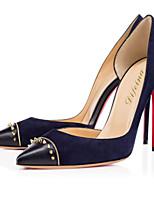 Women's Shoes Fleece Stiletto Heel Heels / Pointed Toe Heels Party & Evening / Dress / Casual Black / Blue