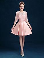 Brautjungfernkleid - Perlen Pink Spitze / Satin - A-Linie - Kurz / Mini - Schmuck