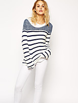 Women's Striped White Pullover , Casual Long Sleeve