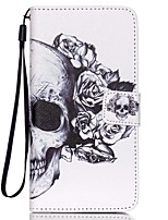 For Samsung Galaxy Case Card Holder / Wallet / with Stand / Flip / Pattern Case Full Body Case Skull PU Leather SamsungGrand Prime / Core