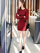 Women's Solid Red / White / Black Dress , Sexy Long Sleeve