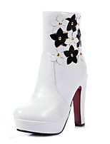 Women's Shoes Leatherette Stiletto Heel Combat Boots Boots Outdoor / Casual Black / Brown / White
