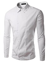 Men's Short Sleeve Shirt , Cotton / Polyester Casual / Work / Formal Pure