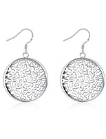 Concise Silver Plated Hollow Geometric Letter Round Drop Earrings for Party Women Jewelry Accessiories
