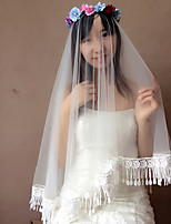 Wedding Veil One-tier Blusher Veils / Elbow Veils Lace Applique Edge