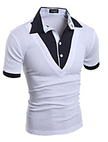 Men's Fashion Personalized British Style Fake Two Design Slim Fit Short Sleeve T-Shirt, Cotton /Polyester