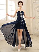 Formal Evening Dress - Ink Blue A-line Sweetheart Asymmetrical Chiffon