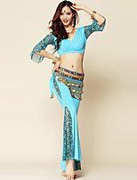 Belly Dance Outfits Women's Performance Spandex / Milk Fiber Draped 3 Pieces Black / Blue / Fuchsia