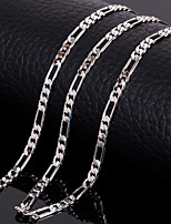 Silver Platinum Plated 20Inchs (50cm)3mm Width Titanium Steel Chain Figaro Necklace Accessories for Men