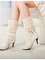 Women's Shoes Tulle Cone Heel Fashion Boots / Round Toe Boots Office & Career / Dress Black / Brown / White