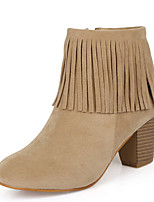 Women's Shoes Suede Chunky Heel Bootie / Pointed Toe / Closed Toe Boots Dress / Casual Black / Beige