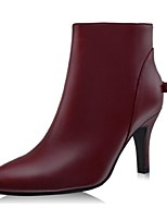 Women's Shoes Leather Stiletto Heel Fashion Boots Boots Office & Career / Party & Evening / Dress Black / Burgundy