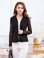 Women's Solid Black Blazer , Vintage Notch Lapel Long Sleeve