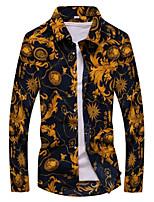 Wild pattern shirt fashion Slim thin section long-sleeved shirt Plus Size