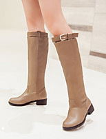 Women's Shoes Leatherette Low Heel Round Toe Boots Outdoor / Office & Career / Casual Black / Brown / Almond