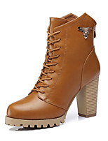 Women's Shoes Nappa Leather Chunky Heel Heels Boots Wedding / Party & Evening / Dress Black / Brown