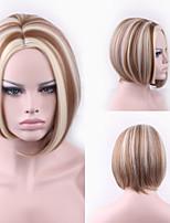 la mode courtes blanc blond perruques de couleurs mixtes de femmes avec Bang milieu