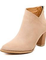 Women's Shoes Fleece Chunky Heel Bootie Boots Casual Black / Almond