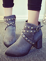 Women's Shoes Fleece Chunky Heel Heels / Platform / Fashion Boots Heels Party & Evening / Dress / Casual Black / Gray